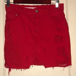 Zara red Jean skirt-size 6